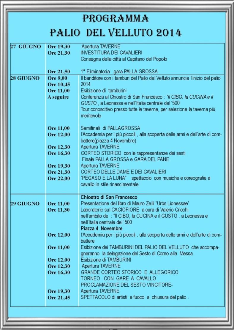 Programma Palio del Velluto 2014