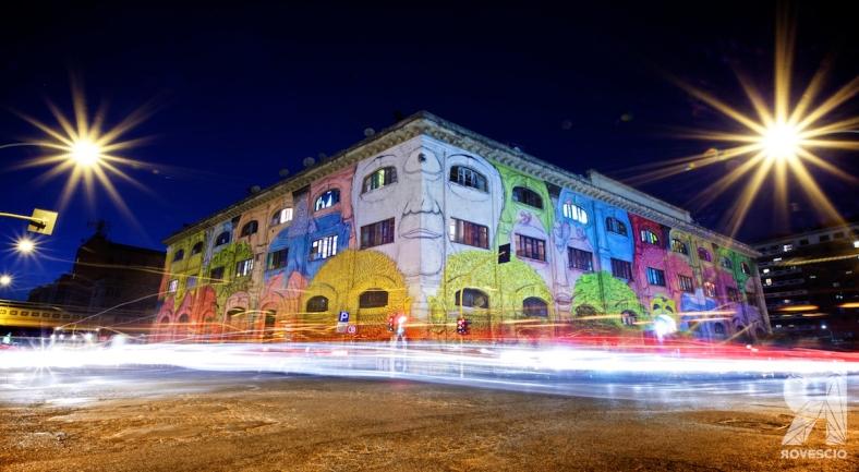 Blu Porto Fluviale Facce Street Art Roma ROVESCIO