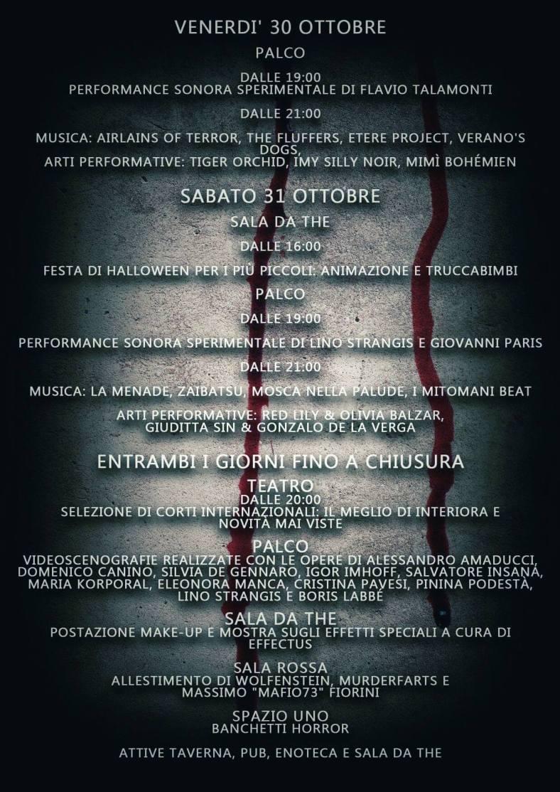 Programma FRATTAGLIE di Interiora Horror Fest 30 e 31 ott  2015 - grafica Jacopo Moser